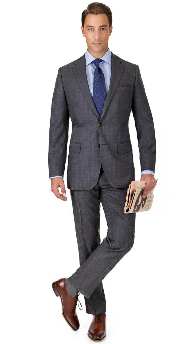 Blue Stripe Grey Natural Stretch Suit