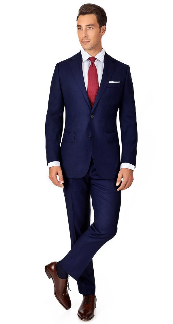 THE W. Suit in Ink Blue Pick & Pick Wool