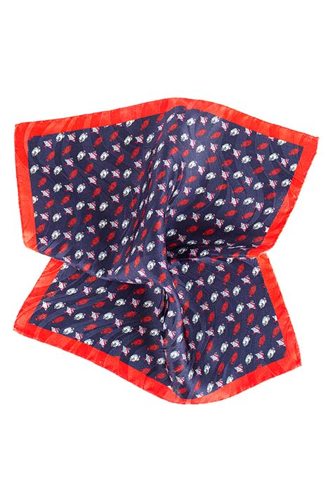 Blue & Red Fish Print Pocket Square