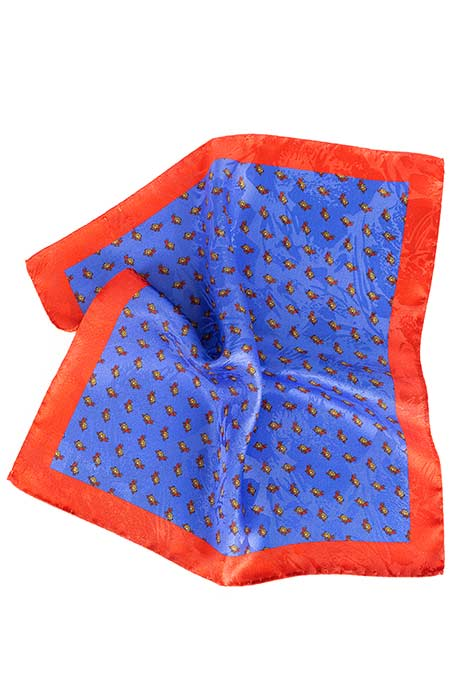 Indigo, Brick Red & Yellow Turtle Print Pocket Square