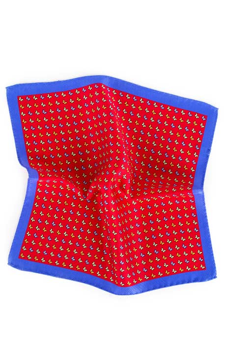 Red & Blue Butterflies Print Pocket Square