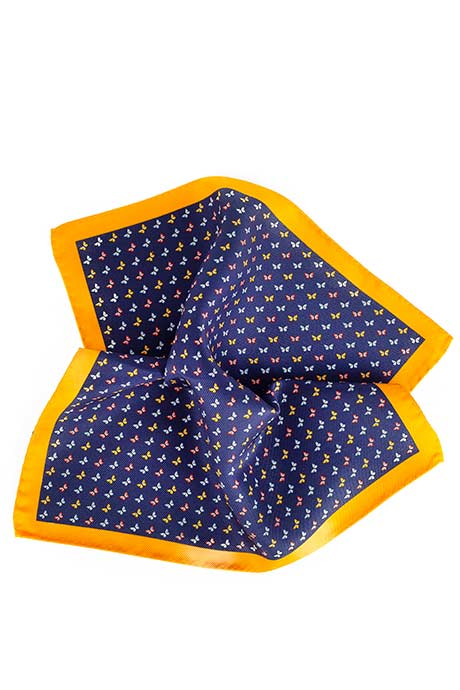 Orange & Blue Butterflies Print Pocket Square