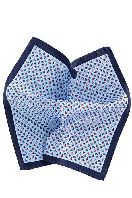 Blue & Sky Blue Snail Print Pocket Sqaure