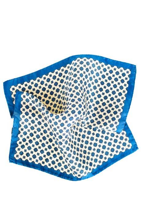 Ivory & Denim Blue Pocket Sqaure