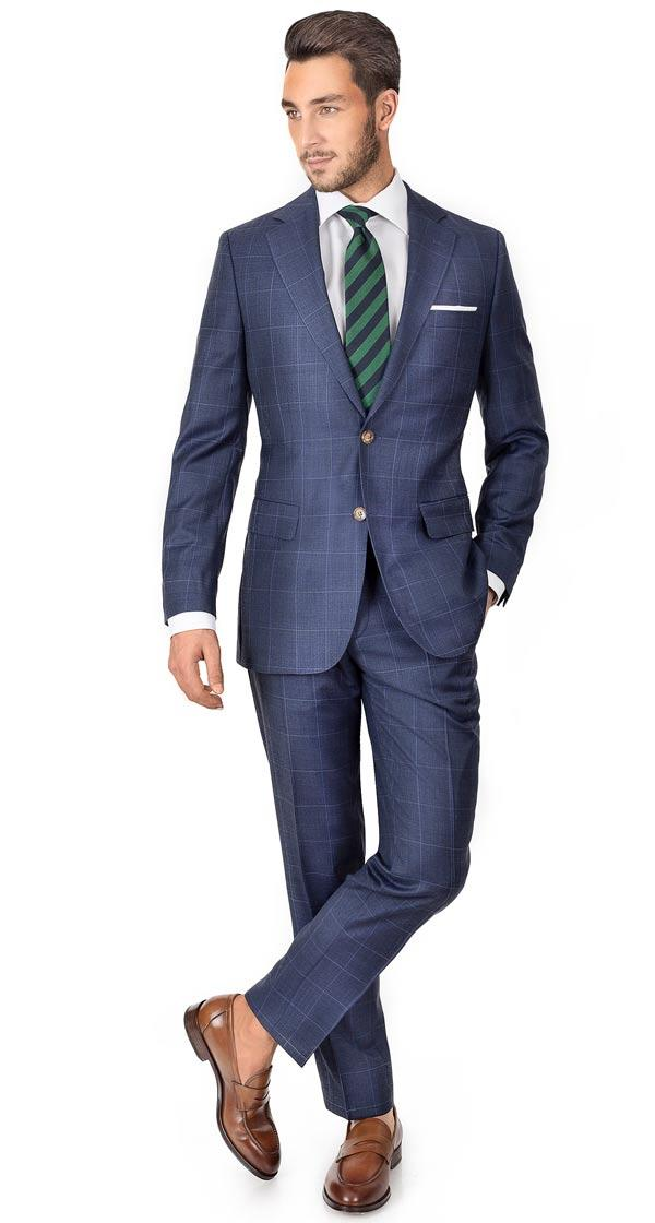Sky Blue Windowpane Pick & Pick Suit