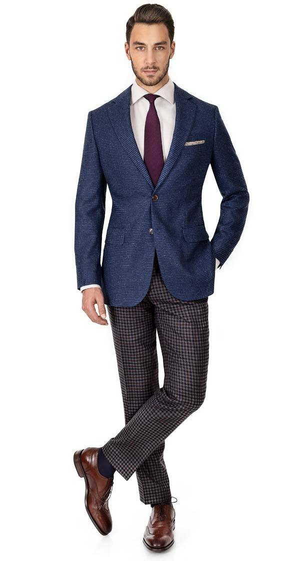 Sky Blue & Navy Wool-Silk Sport Coat