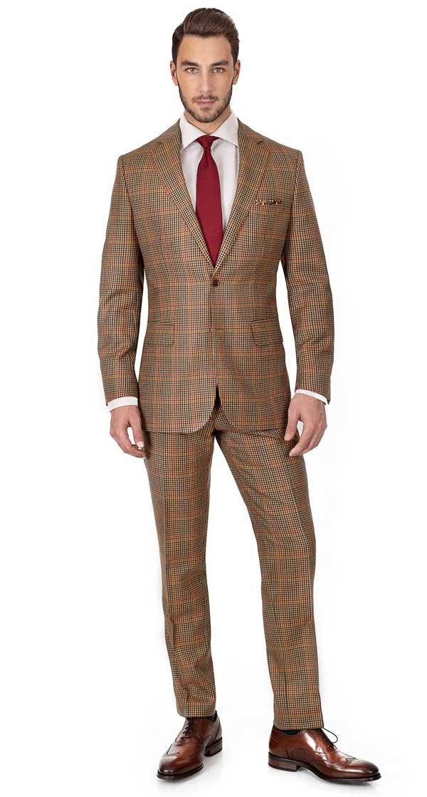Brown Check Wool & Cashmere Suit