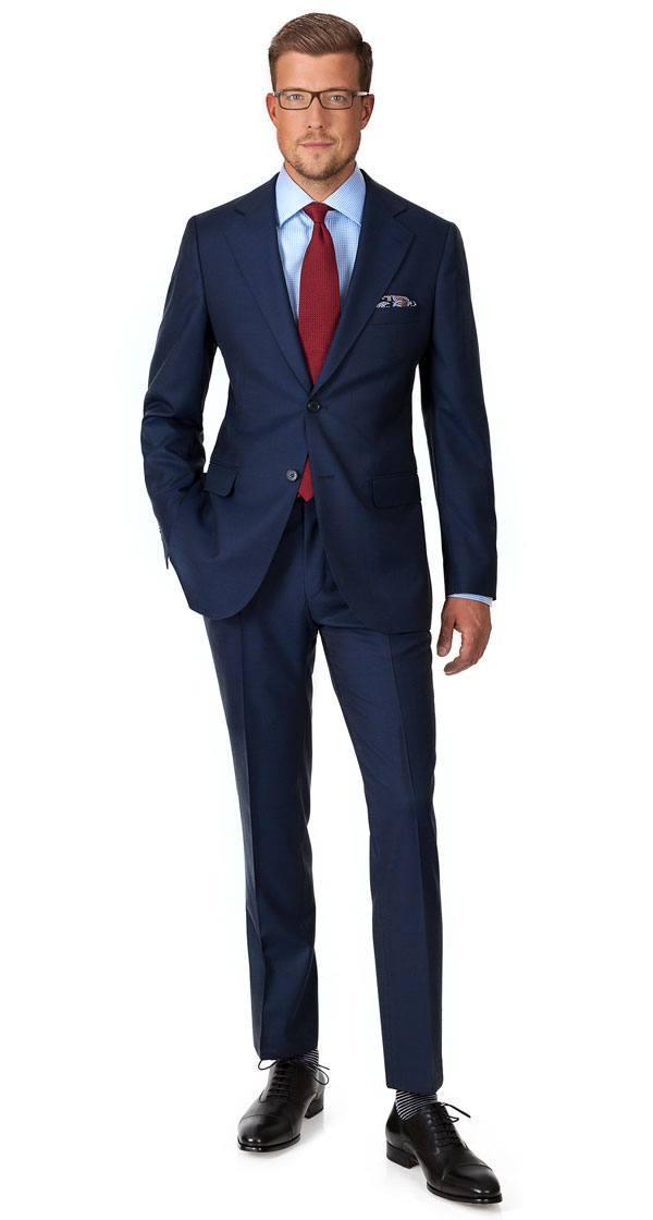 Suit in Navy Plaid Wool