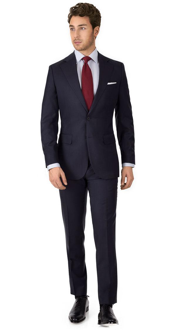 Suit in Dark Navy Sharkskin Wool