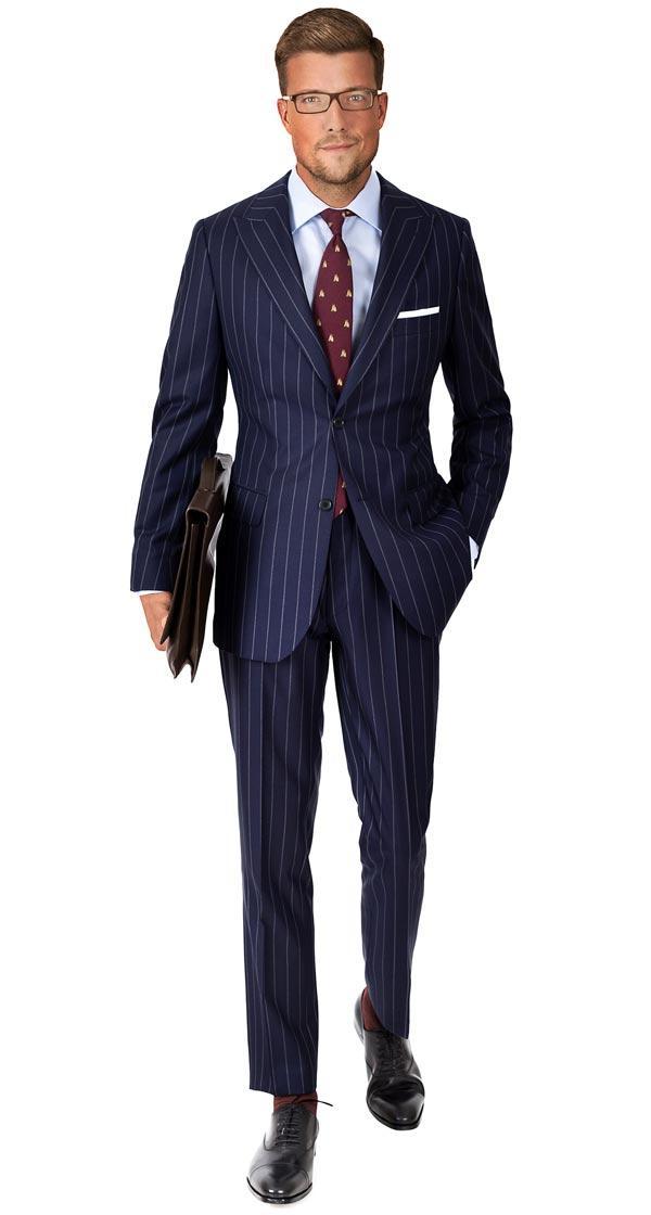 Suit in Navy Wide Chalkstripe Wool