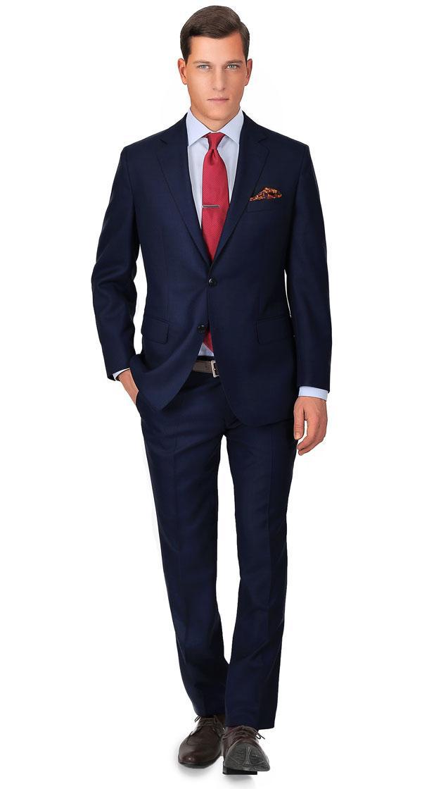 Suit in Blue Sharkskin Wool