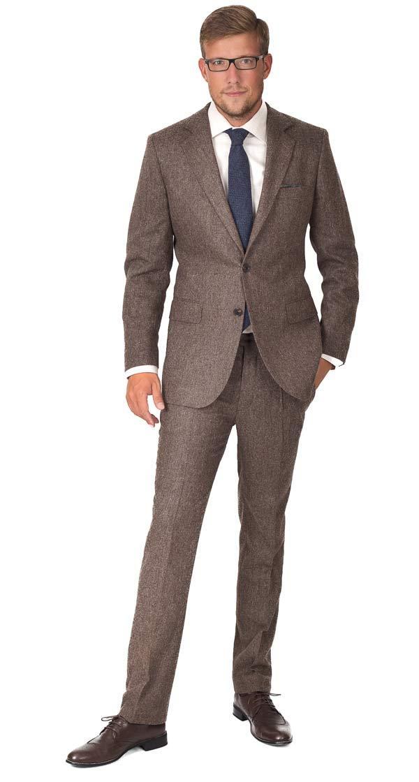 Suit in Natural Brown Tweed Wool