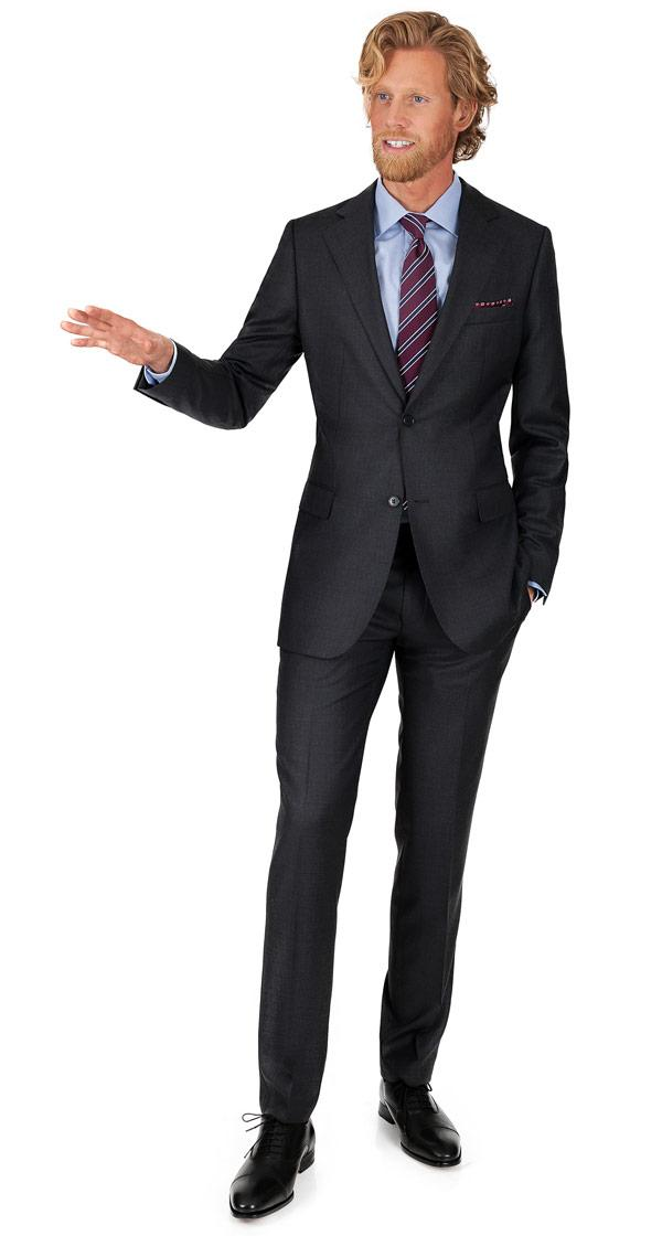 Suit in 140s Charcoal Pick & Pick Wool