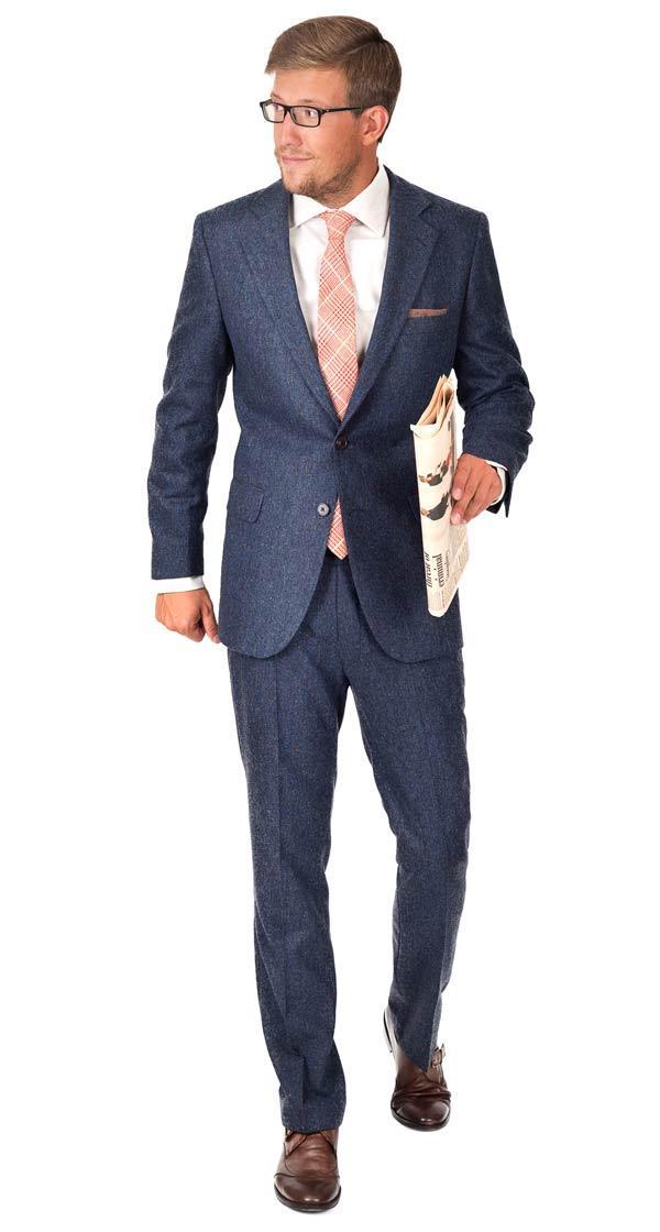 Suit in Blue Donegal Tweed Wool