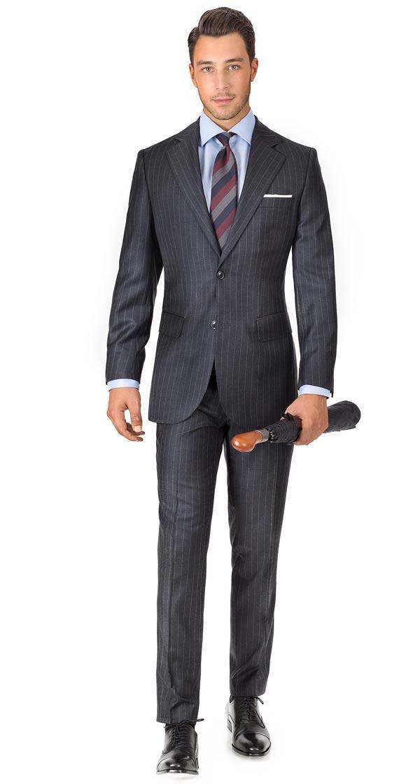 Suit in Charcoal Chalkstripe Wool