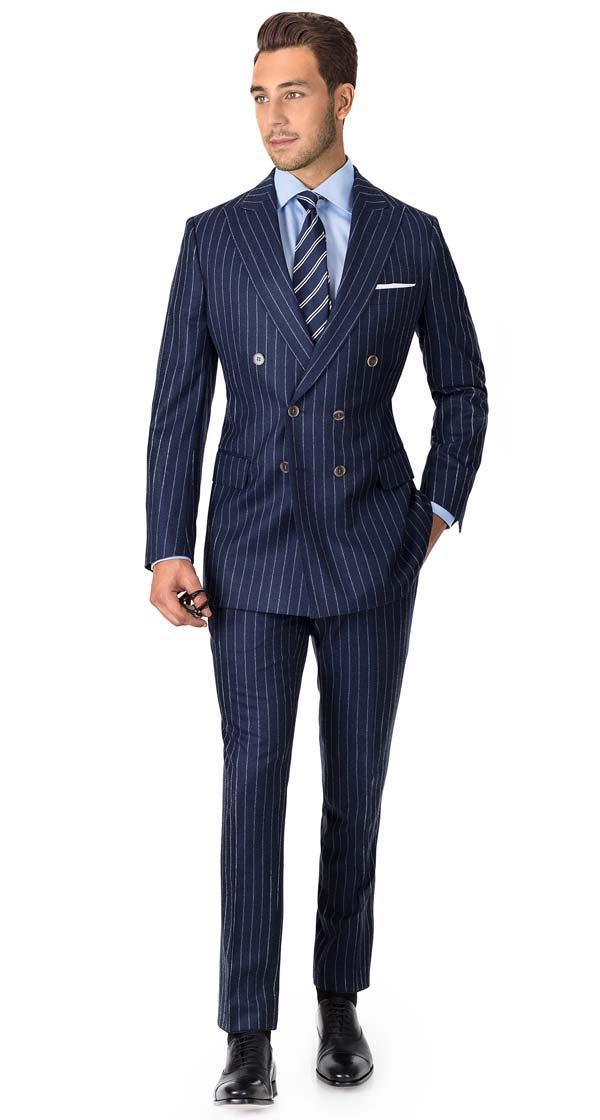 Suit in Blue Chalkstripe Wool Flannel