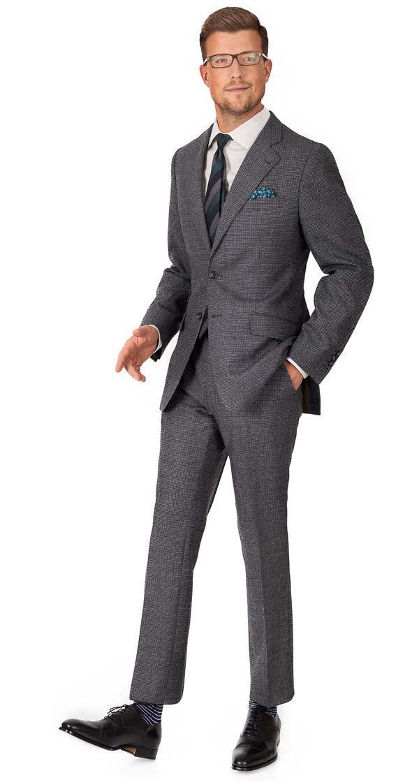 Suit in Dark Grey Houndstooth Wool