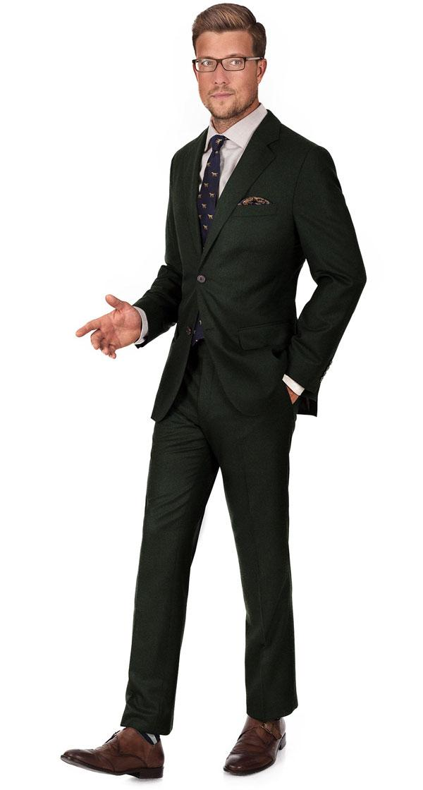 Suit in Dark Green Wool Flannel
