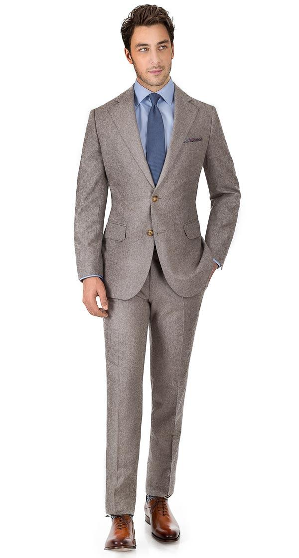 Suit in Light Brown Wool Flannel