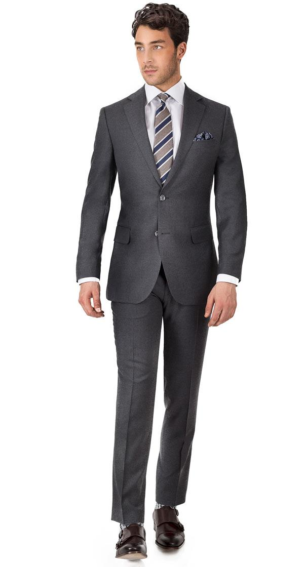 Suit in Solid Grey Wool