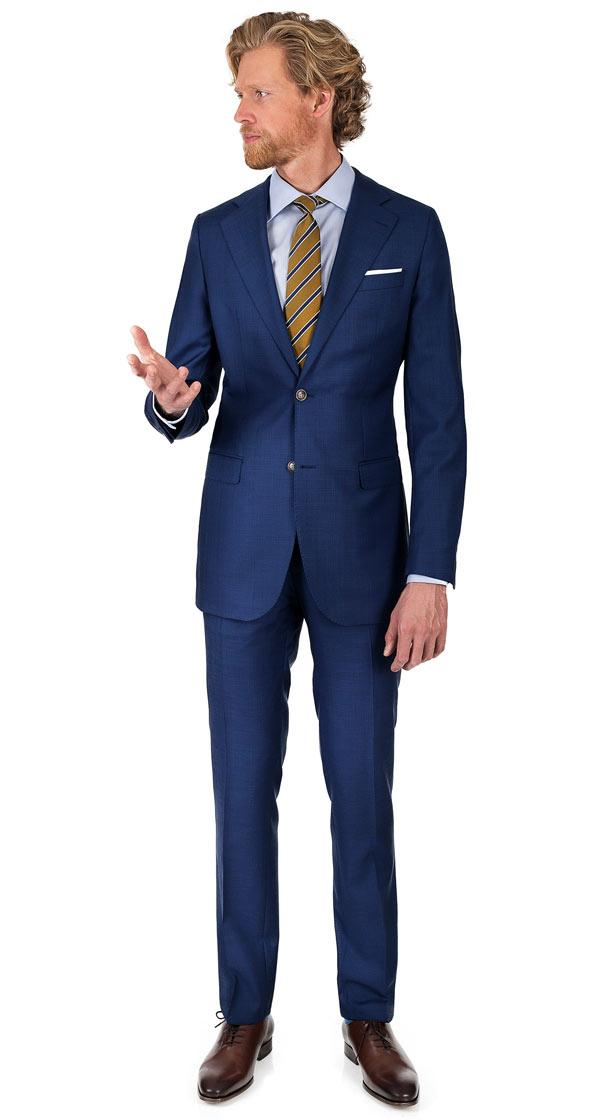 Suit in Blue Plaid Wool