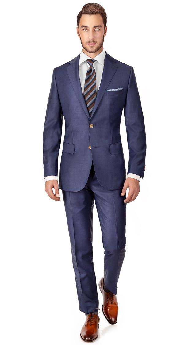 THE W. Suit in Sky Blue Pick & Pick Wool