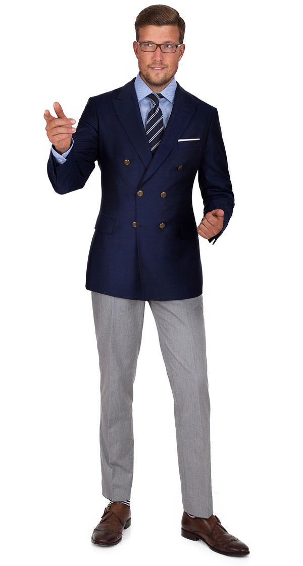 11 oz Navy Serge Blazer with Brass Buttons