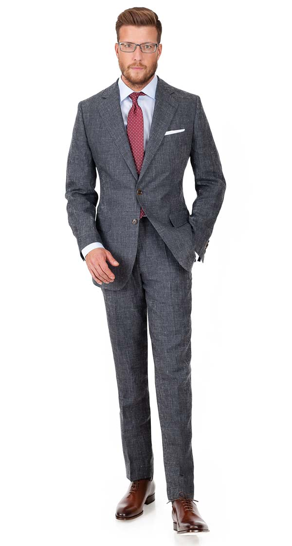 Dark Grey Melange Linen Suit