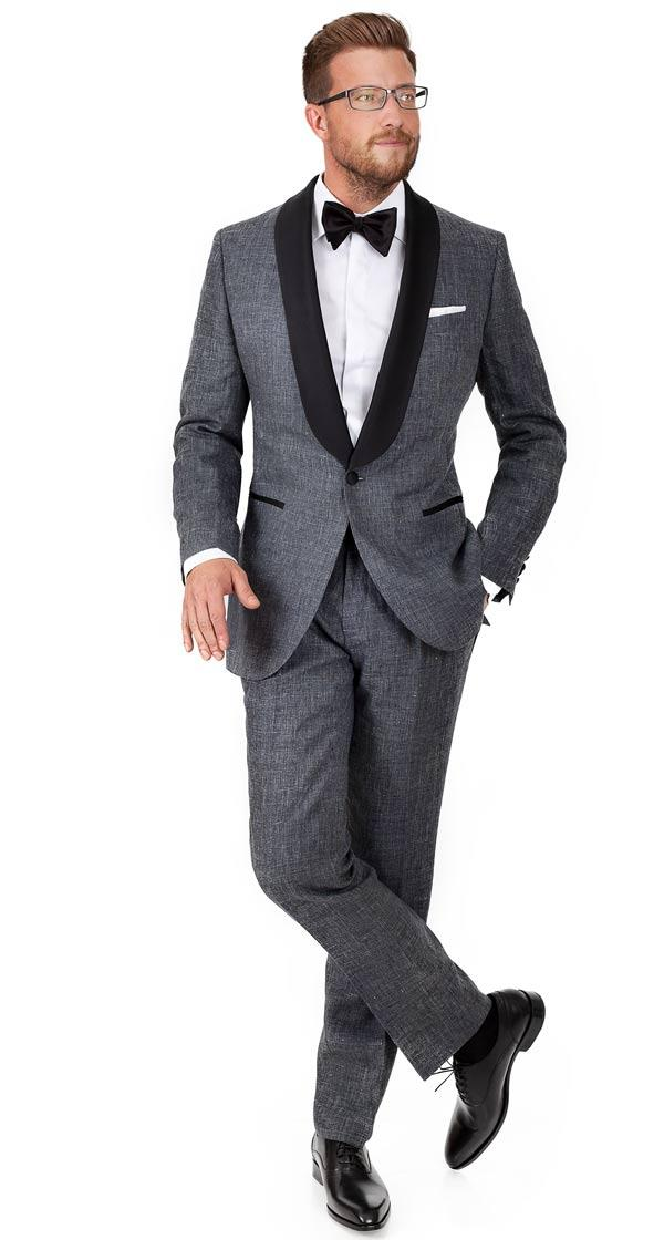 Dark Grey Linen Tuxedo