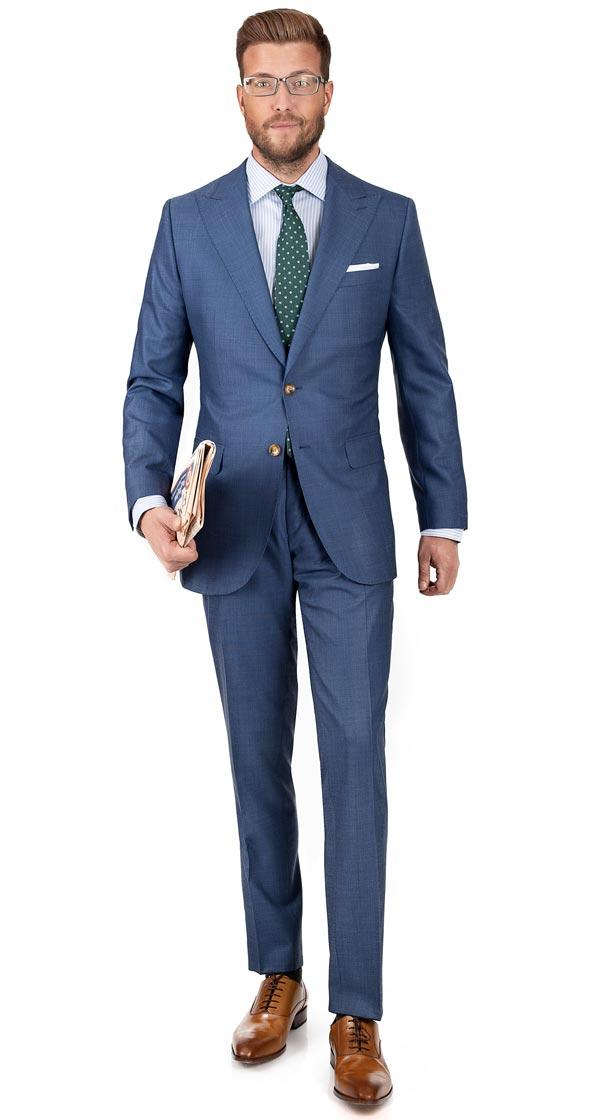 Vendetta Steel Blue Birdseye Suit