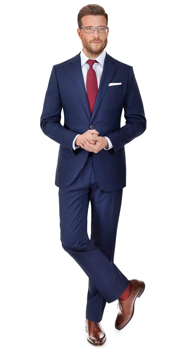 Navy Shadow Plaid Suit