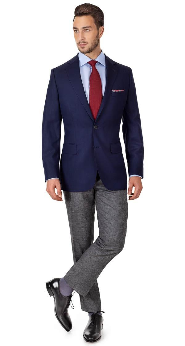 Navy Hopsack Natural Stretch Blazer