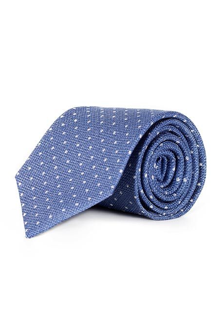 Sky Blue Dotted Silk Tie