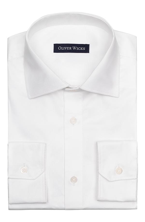 White Non-iron Cotton Twill Shirt
