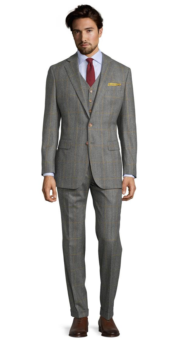 Grey Plaid With Yellow Overcheck 3 Piece Suit