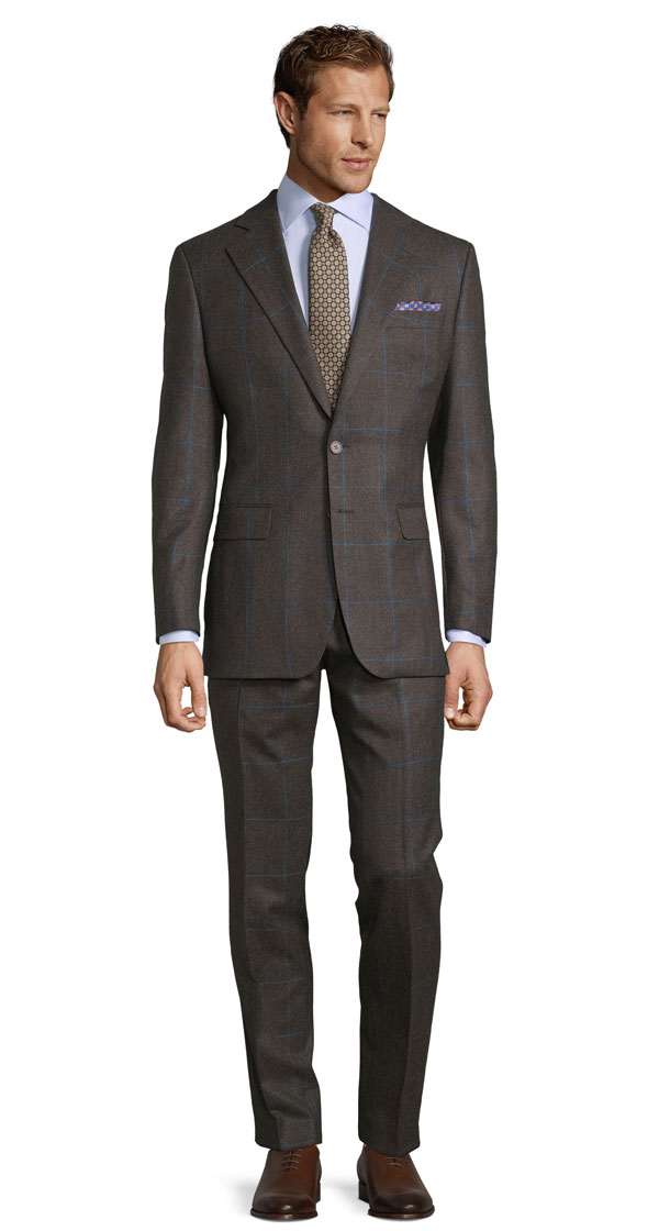 Brown Plaid With Blue Overcheck Suit