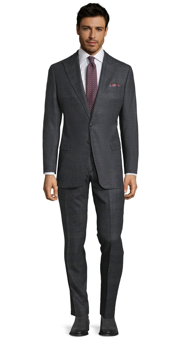 Charcoal Plaid With Navy Overcheck Suit
