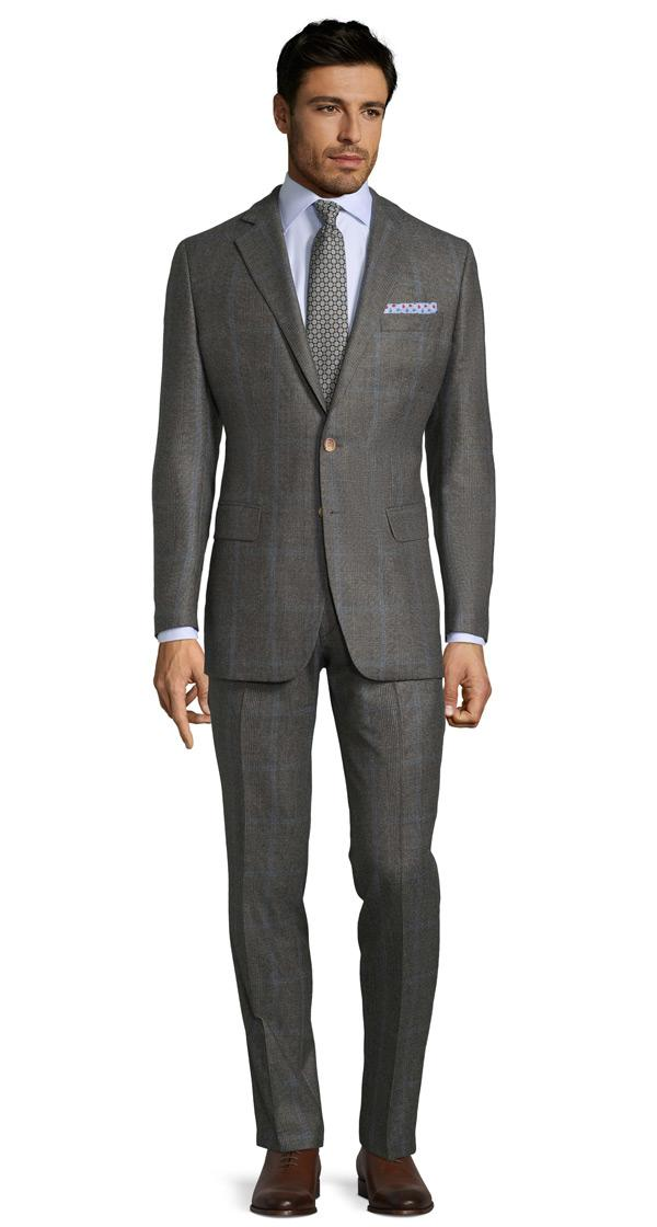 Blue Check Warm Grey Plaid Suit