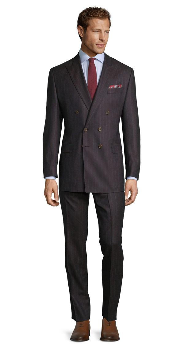Blue Stripe Brown Suit