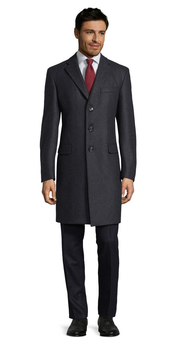 THE W. Coat in Solid Charcoal Wool