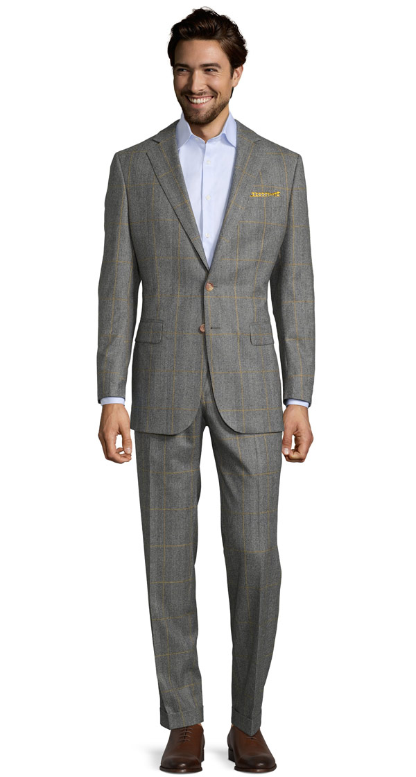 Grey Plaid With Yellow Overcheck Suit