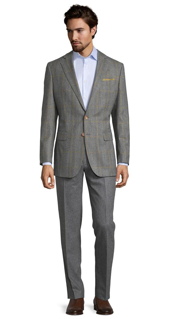 Grey Plaid With Yellow Overcheck Blazer