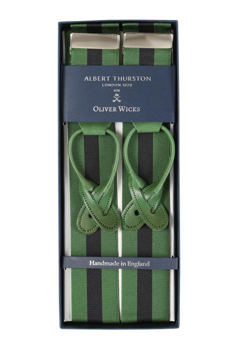 Green & Navy Striped Suspenders