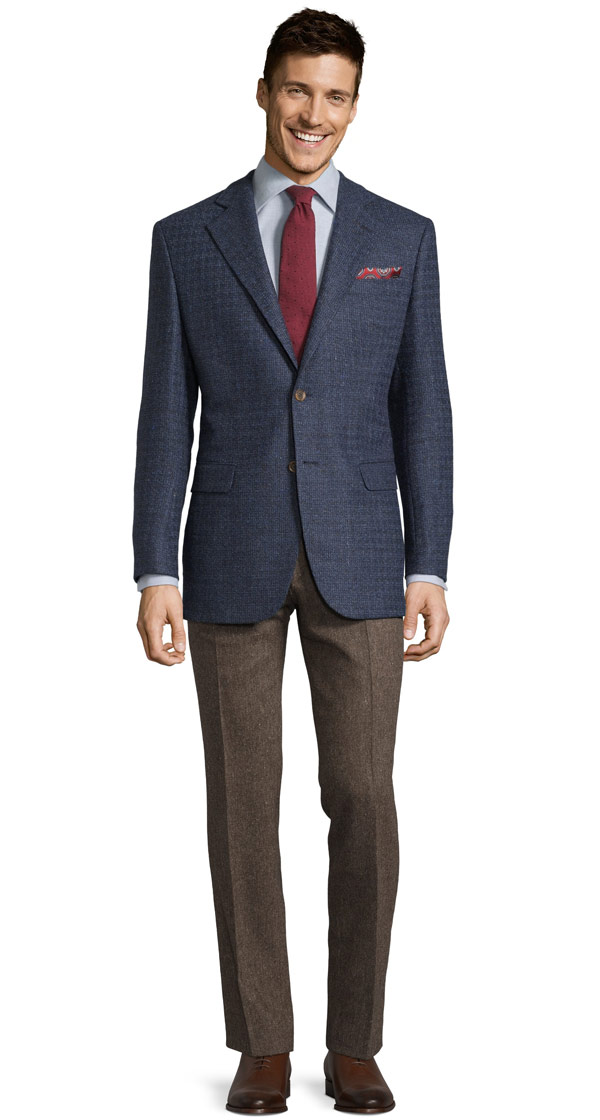 Navy Fine Check Tweed Blazer