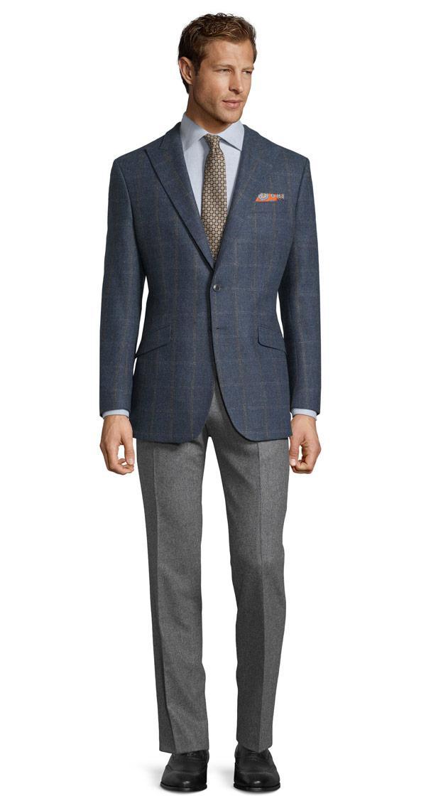 Petrol Blue Check Wool & Cashmere Blazer