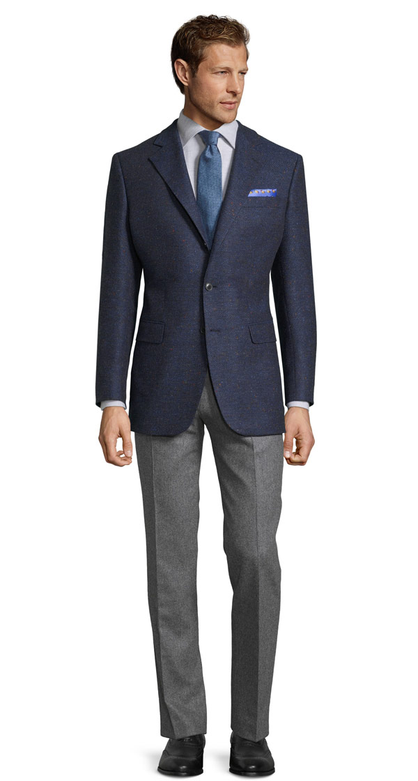 Navy Donegal Herringbone Tweed Blazer