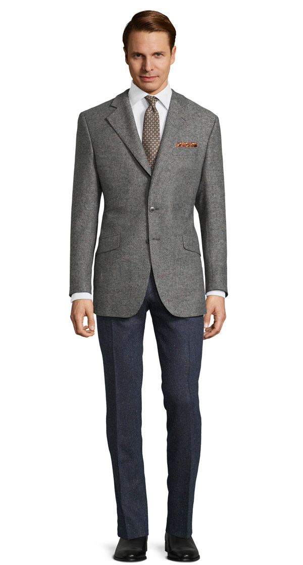 Grey Donegal Herringbone Tweed Blazer