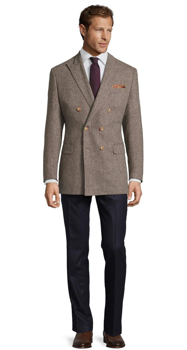 Brown Herringbone Natural Wool Tweed Blazer