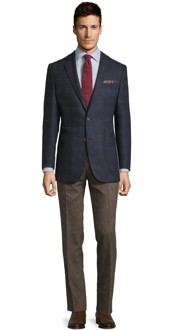 Navy Vintage Hopsack Tweed Blazer