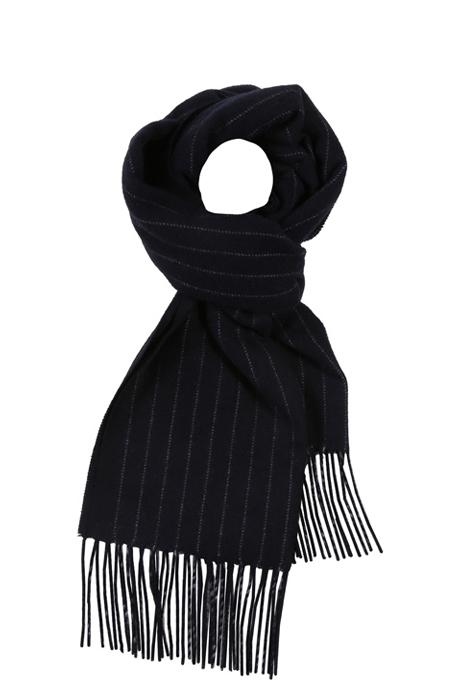 Navy Striped Wool Scarf